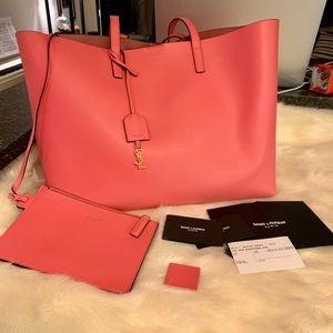 Saint Laurent calfskin shopping tote bag rose pink